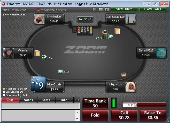 PokerStars Fast Fold Format - Zoom Poker
