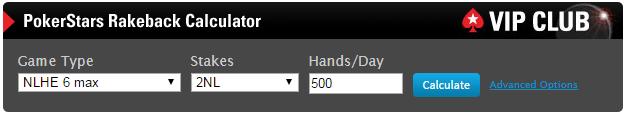 PokerStars Rakeback Calculator