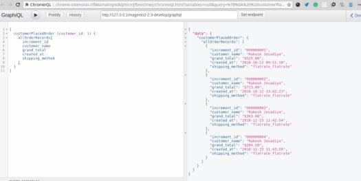 order list of Customer GraphQL