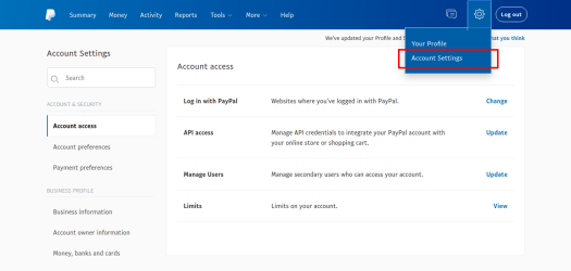 Paypal account setting