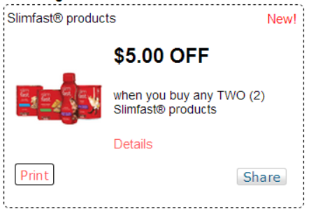 picture about Slim Fast Coupons Printable titled Superior Importance $5/2 Slimfast Solutions Coupon + Walgreens Offers