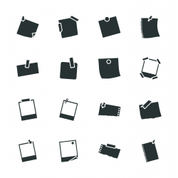 Post-It and Polaroid Photo Silhouette Icons