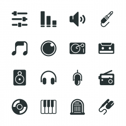Music and Audio Silhouette Icons