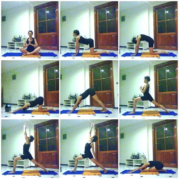 Défi yoga posture de yoga posture du guerrier I Virabhadrasana I