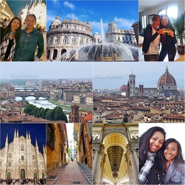retrouvailles, photos en mosaique sur ma visite en Italie : Milan, Florence, Gênes