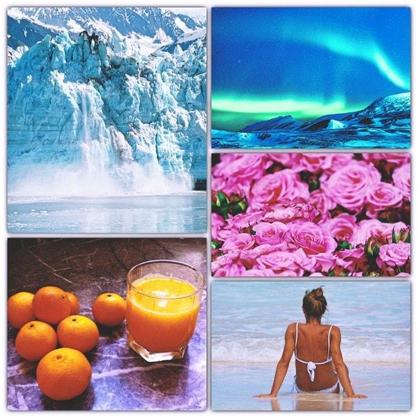 Les cinq sens, effondrement d'un glacier, aurore boréale, champ de roses, oranges et jus d'orange, vagues de la mer et femme assise de dos sur la plage