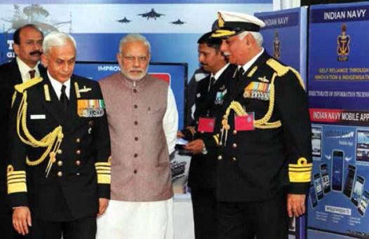 Narendra Modi with Navy Chief Admiral Sunil Lanba at Navy