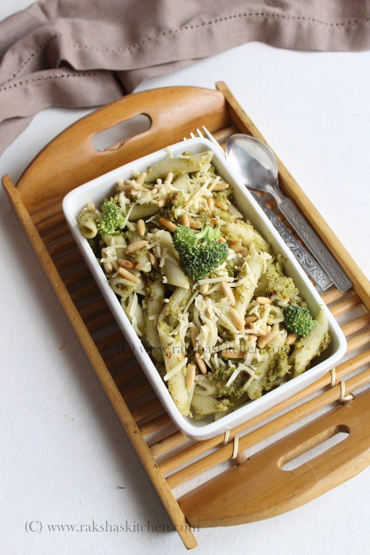 broccoli pesto pasta with pine nuts