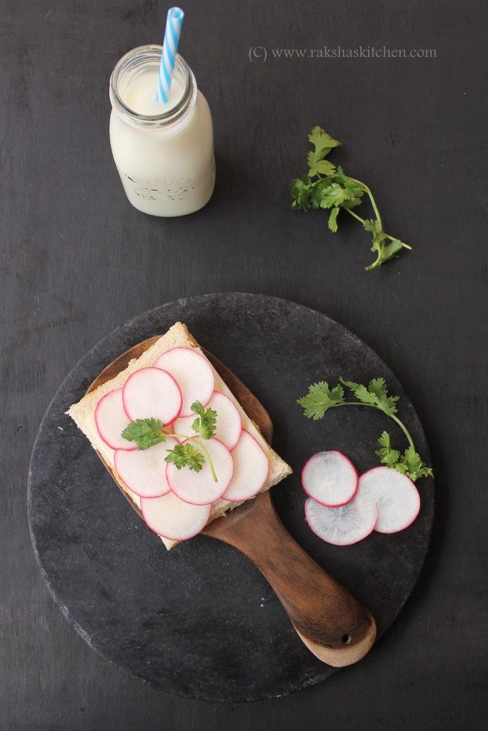 Open Faced Radish Sandwich