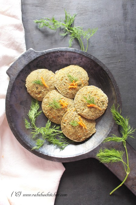 Green Moong and vegetable idli