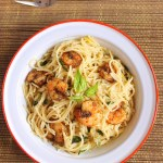 Lemon Pasta With Roasted Shrimps