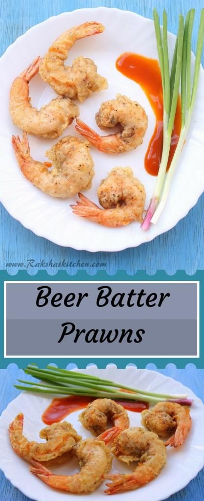 Beer batter prawns