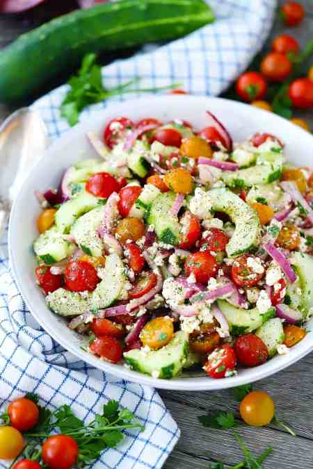 cucumber tomato salad with feta