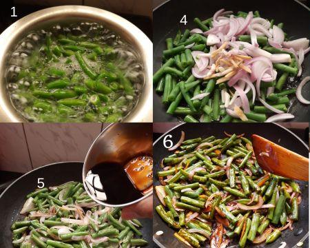 Steps to make green beans stir fry