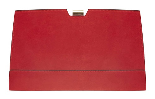 Red metal frame clutch bag