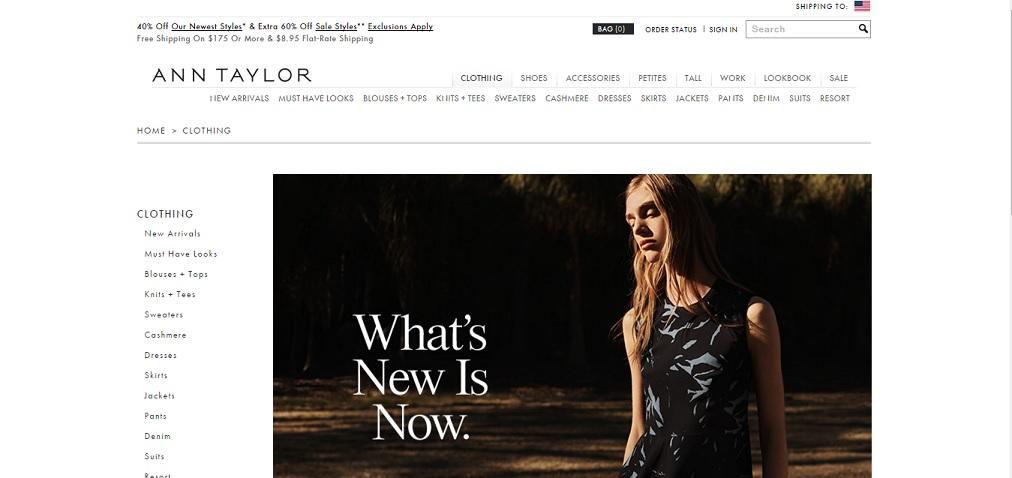 Ann Taylor Homepage