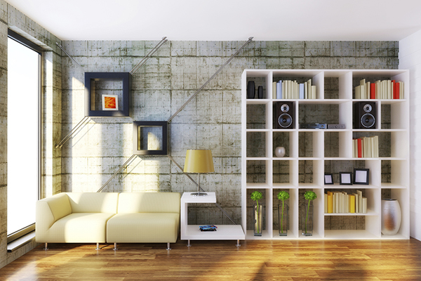 Living Room With Square Shelves