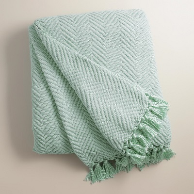 Mint blanket throw folded