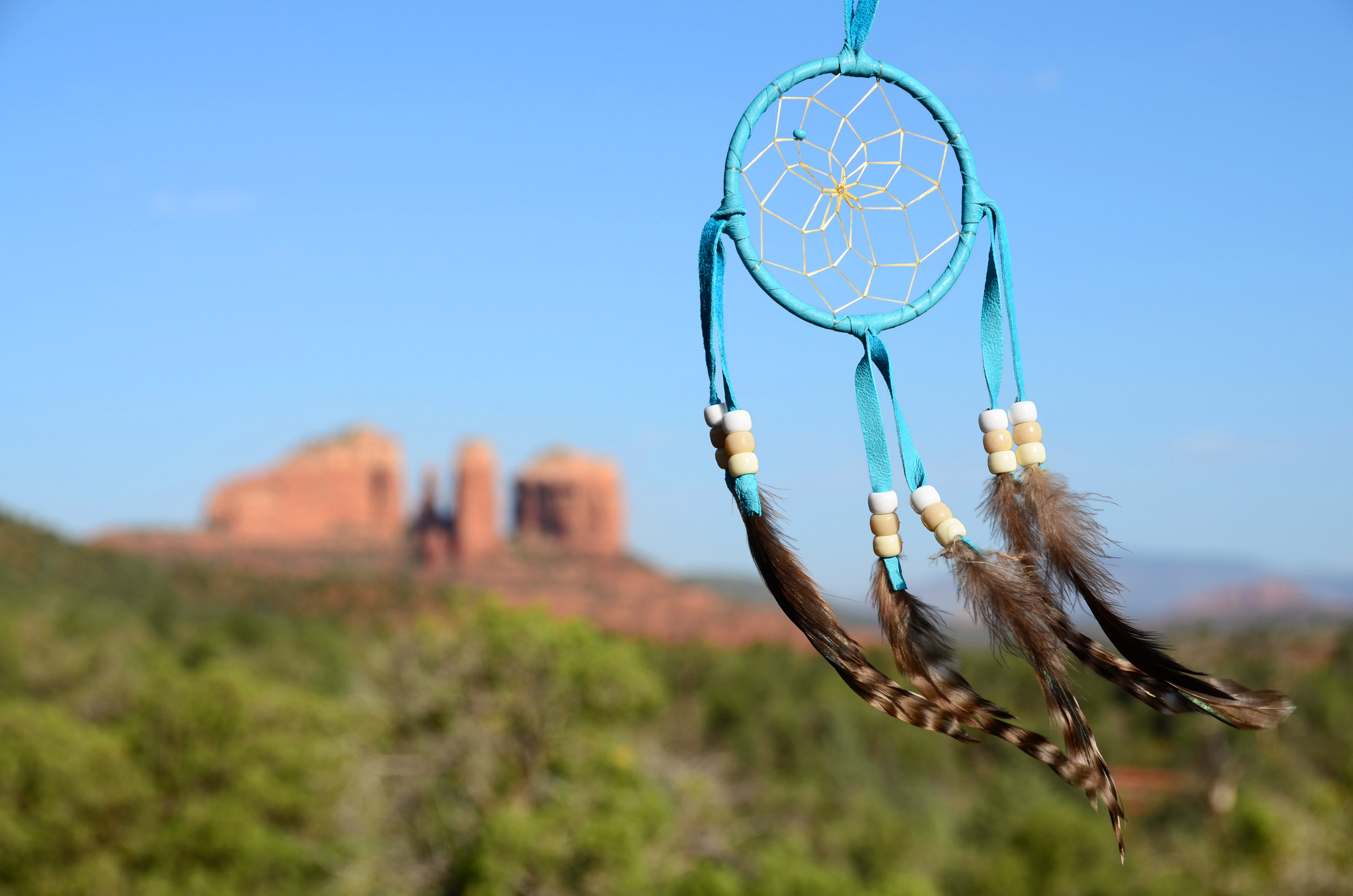 A view through a dreamcatcher of the famous red rock landscape of Sedona, Arizona.