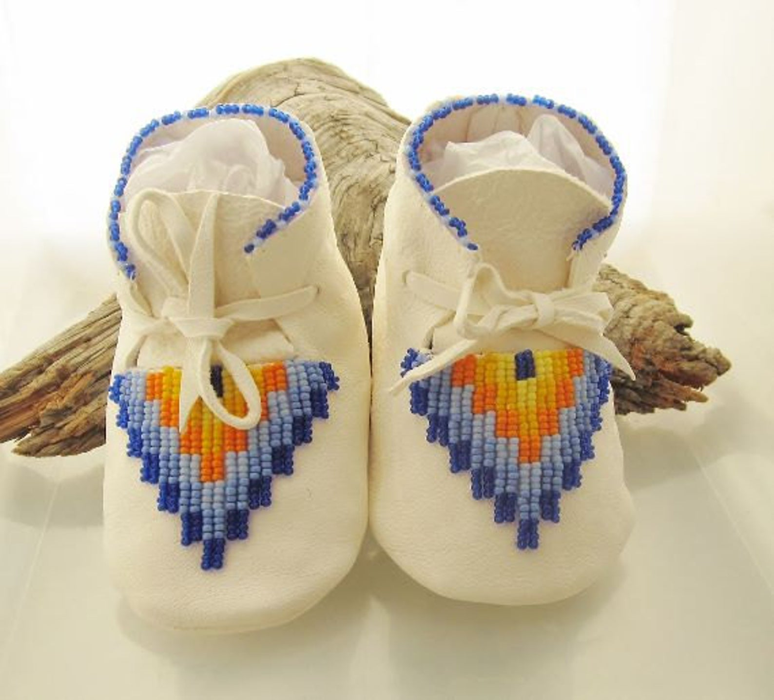Personalized Keepsake Baby Shower Gift. Native American beaded baby boy moccasins. Blue and yellow beaded infant shoes. Newborn crib booties