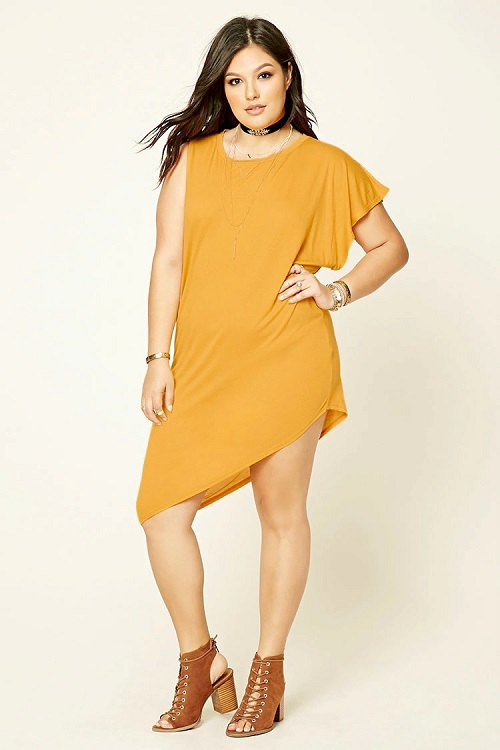 Mustard Plus size Asymmetrical Top