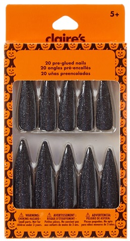 Halloween Black Glitter 20 Pre-Glued Witch Nails