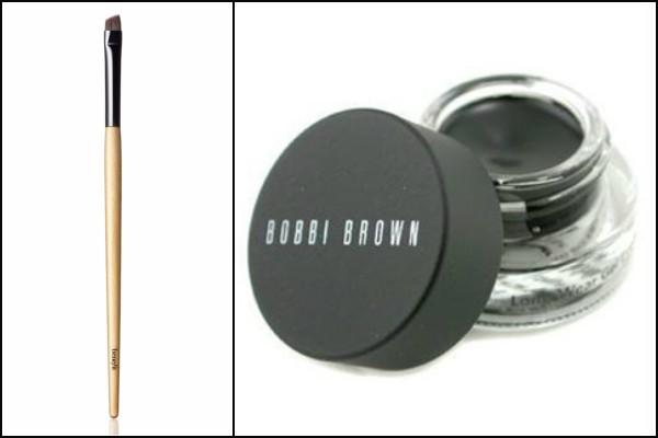 Hard angle makeup brush and black gel liner pot