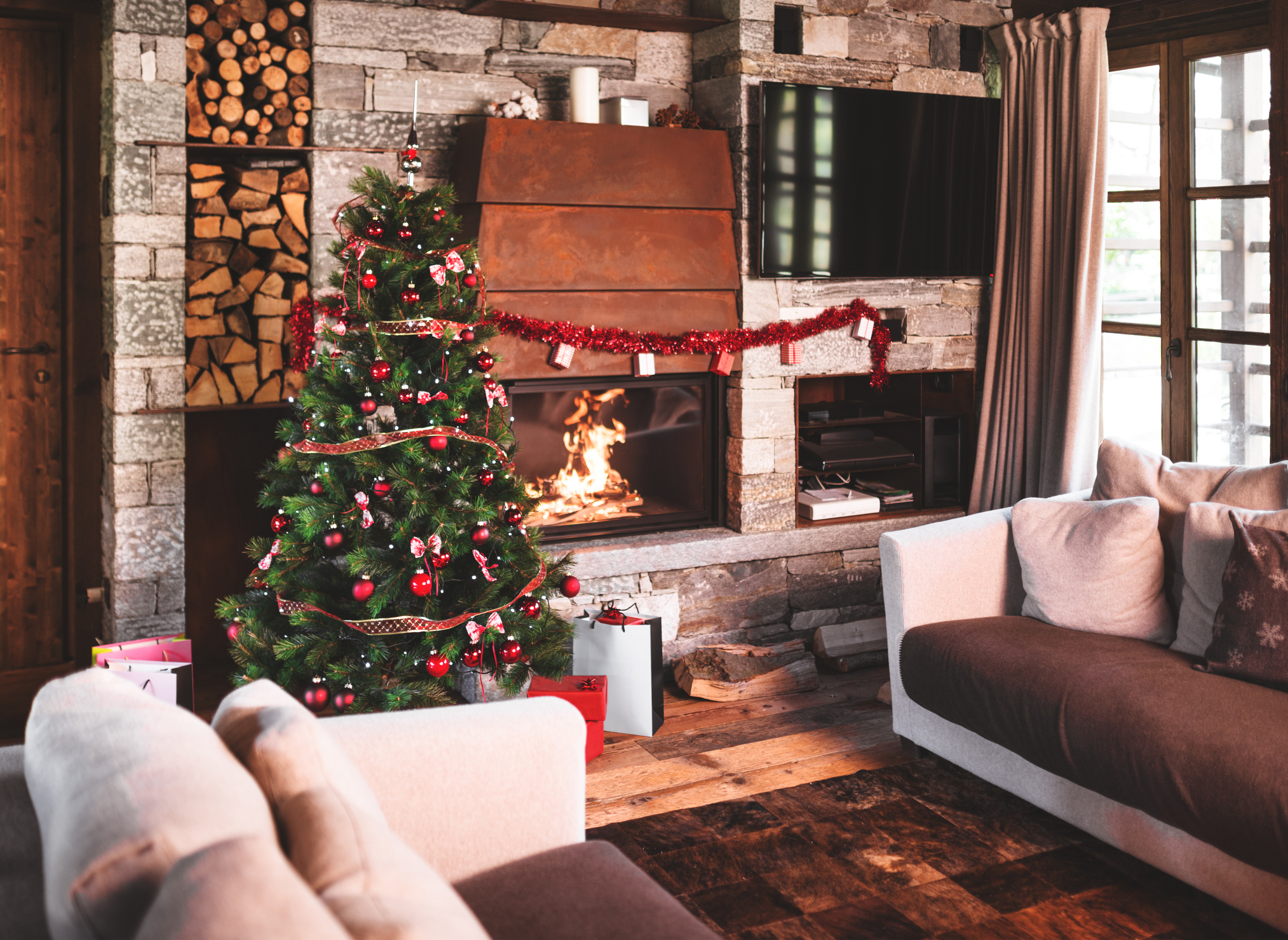 living room with christmas tree and the fireplace