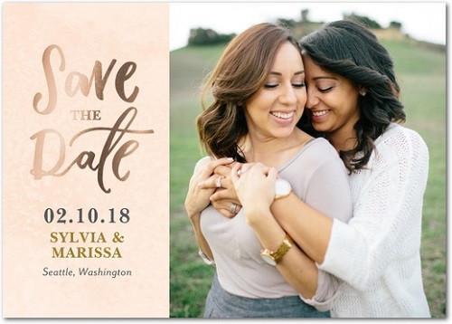 Lesbian couple save the date
