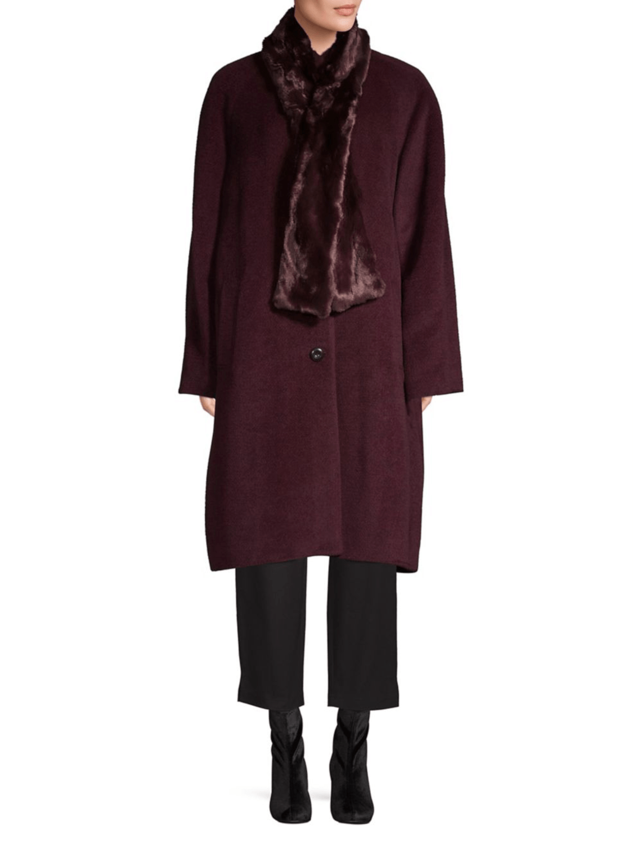 Jones New York Wool-Blend Coat with Faux Fur Scarf