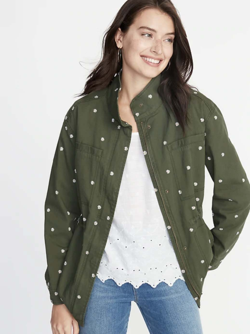 Embroidered Daisy-Print Field Jacket