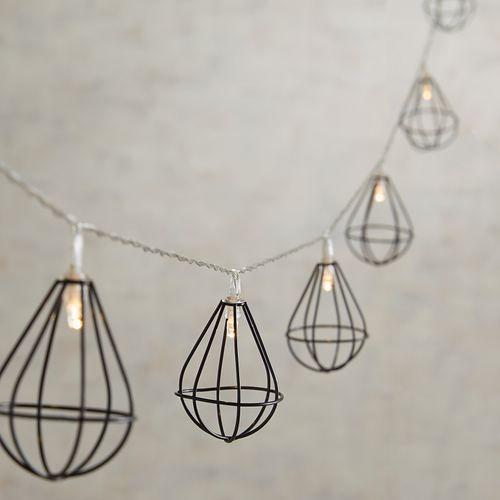 10' Black Wire Lantern LED String Lights