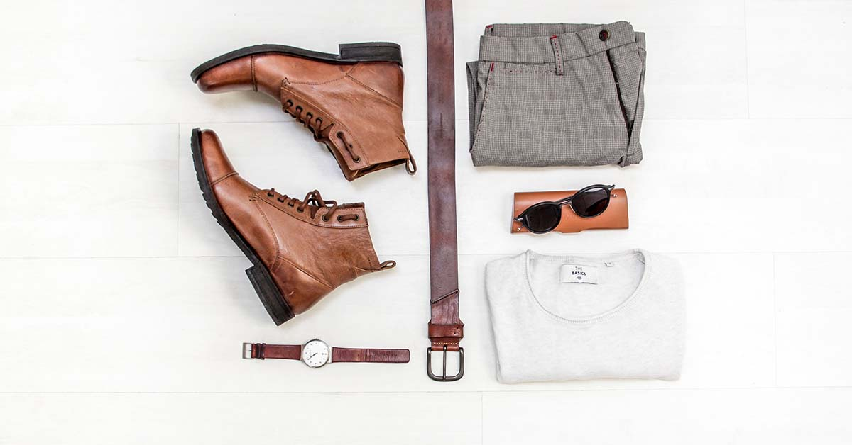 Flatlay of men's clothes and accessories