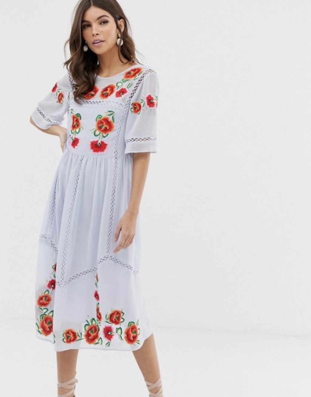 ASOS DESIGN Embroidered Smock Midi Dress with Ladder Trims
