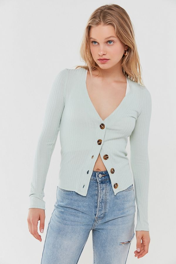 Out From Under Ribbed Button-Front Cardigan