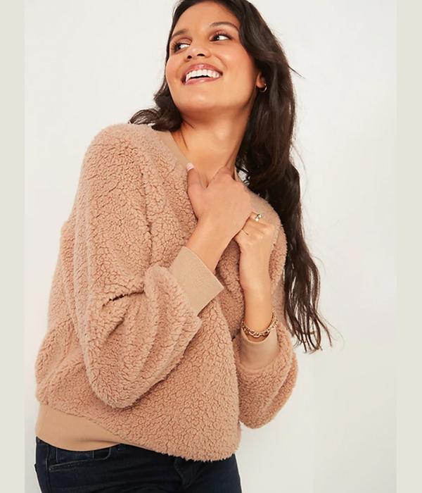 Loose Cozy Sherpa Sweatshirt