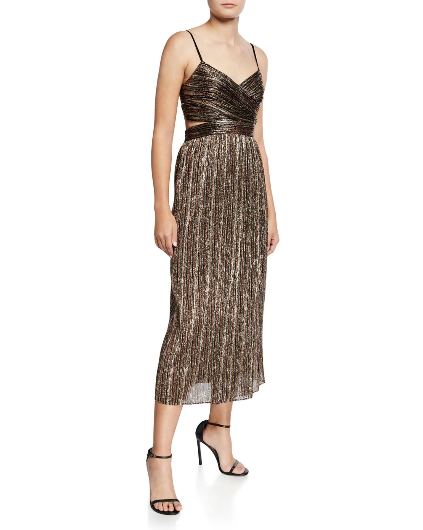 Aidan by Aidan Mattox Pleated Metallic Stripe Sleeveless Midi Cocktail Dress