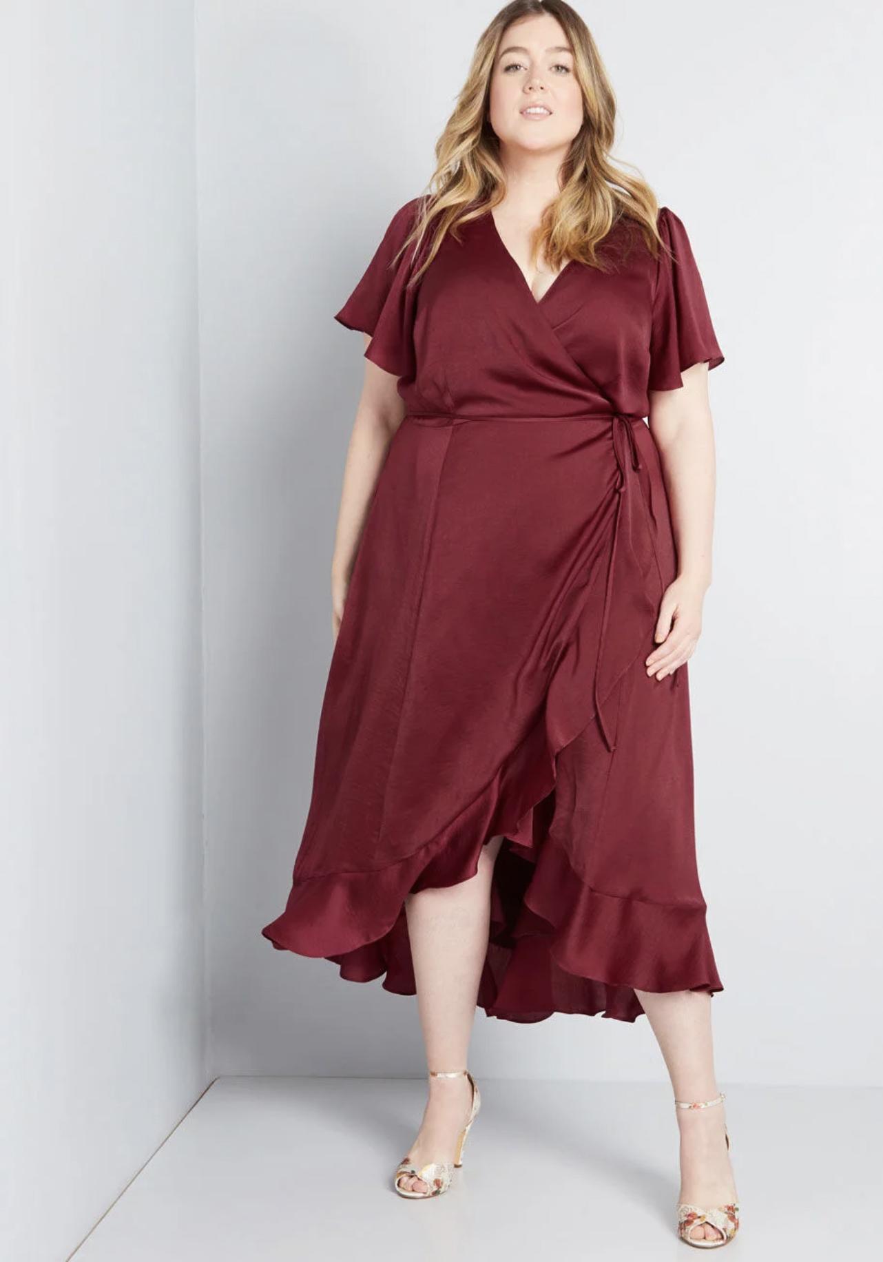ModCloth Stunning Wonder Maxi Wrap Dress
