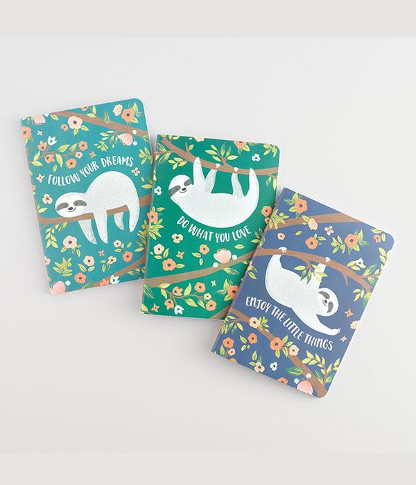 Sloth Floral Journals, 3 Pack
