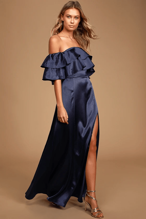 Lulus Pure Happiness Navy Blue Satin Off-the-Shoulder Maxi Dress