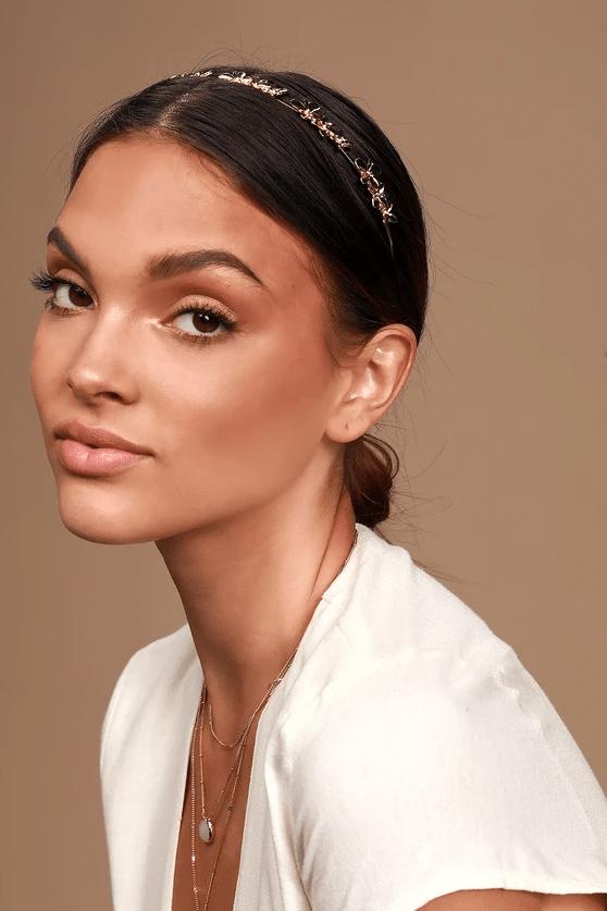 Flowers in Her Hair Gold Flower Headband