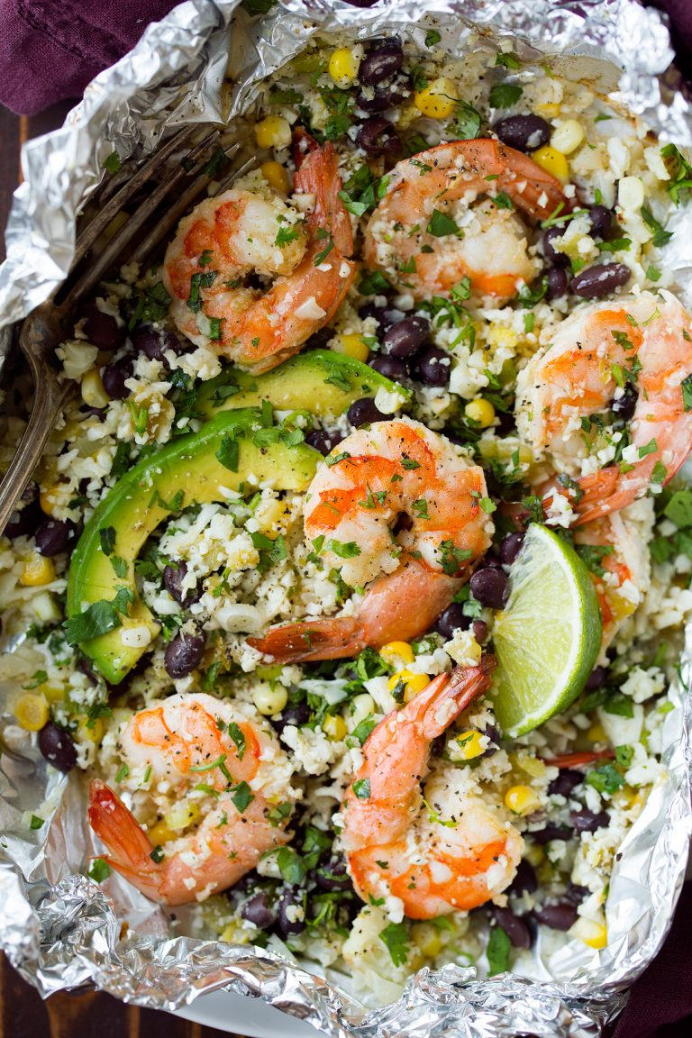"Cooking Classy Cilantro Lime Shrimp and Cauliflower ""Rice"" Foil Packs"