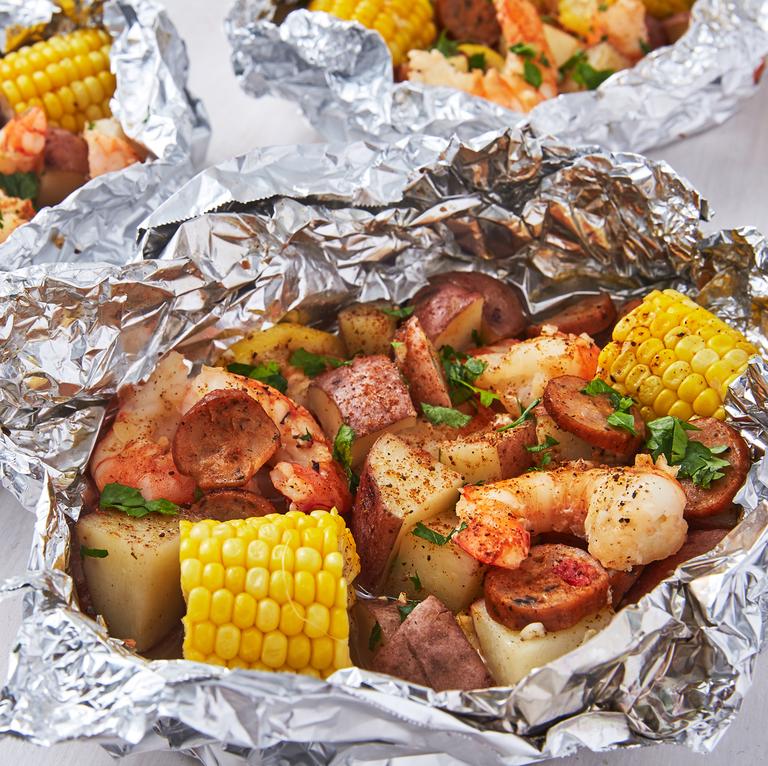 Delish Grilled Shrimp Foil Packets