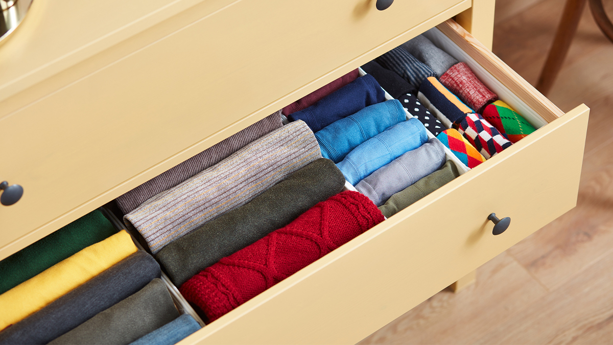 Folded clothes in a dresser