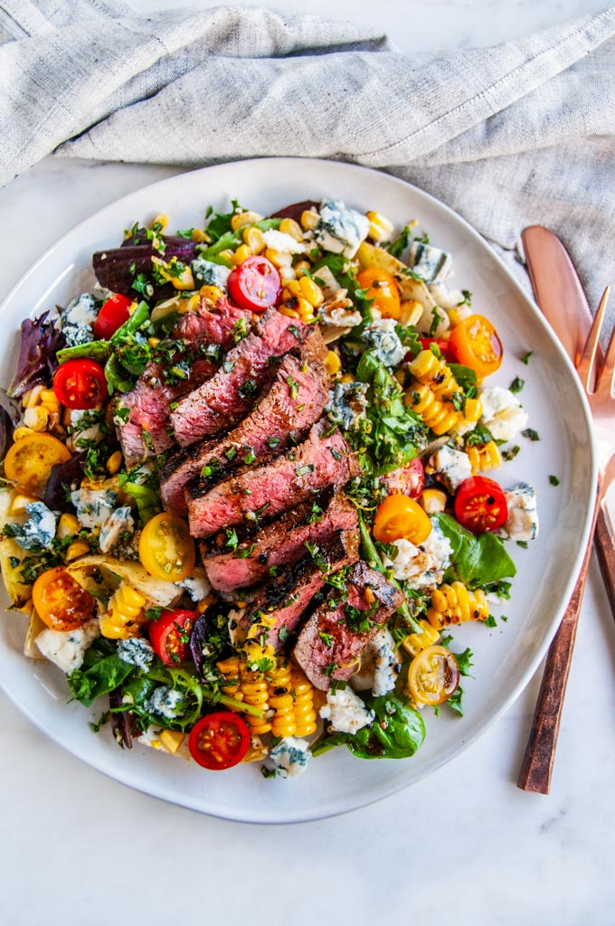 Balsamic Steak Gorgonzola Salad with Grilled Corn