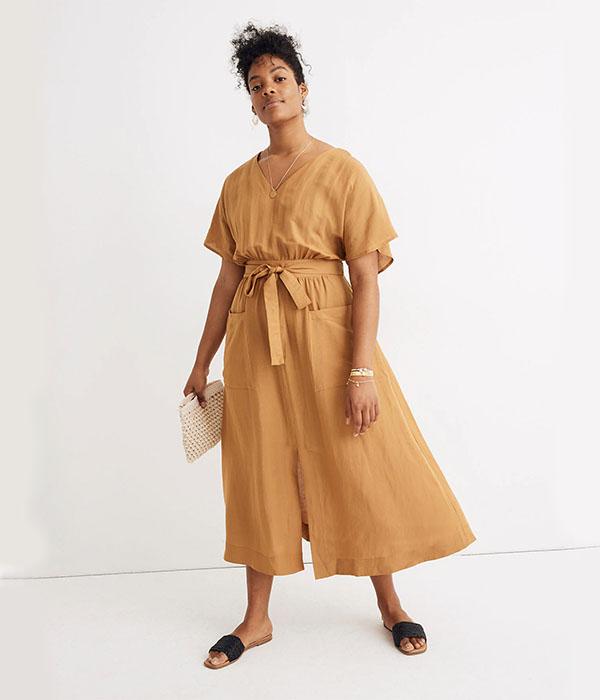 Linen-Blend Dolman-Sleeve Tie-Waist Midi Dress
