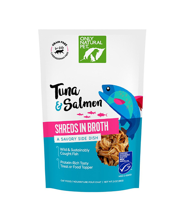 Only Natural Pet Shreds in Broth Savory Food Topper for Cats – Tuna & Salmon