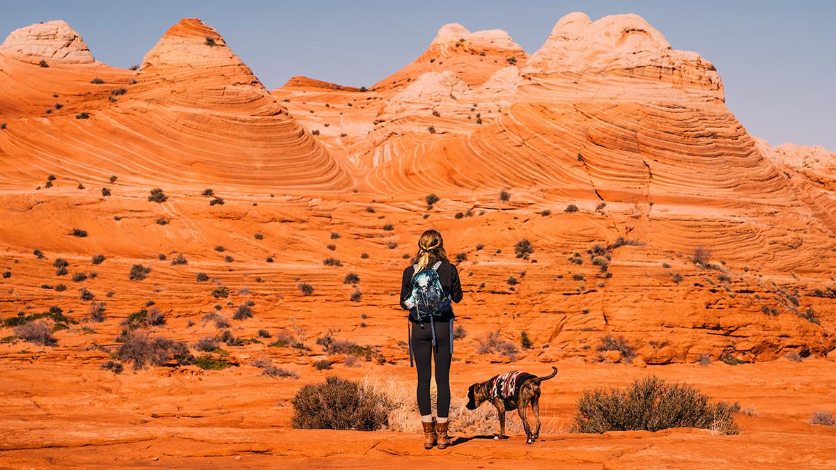 Girl looking at rocks