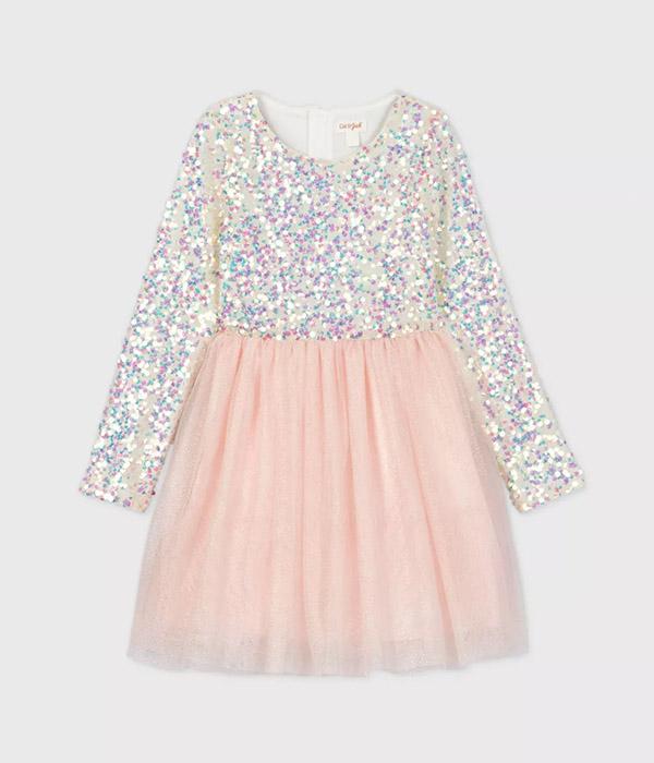Girls' Long Sleeve Iridescent Sequin Tulle Dress