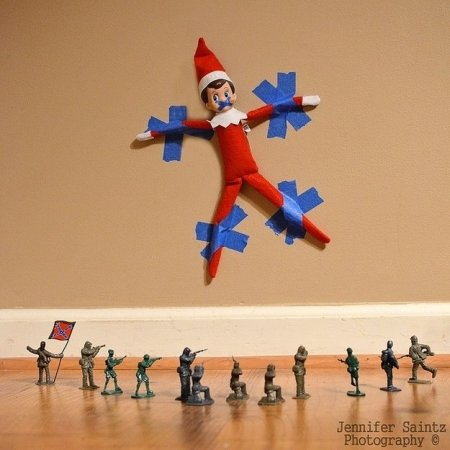 Trapped elf on the shelf